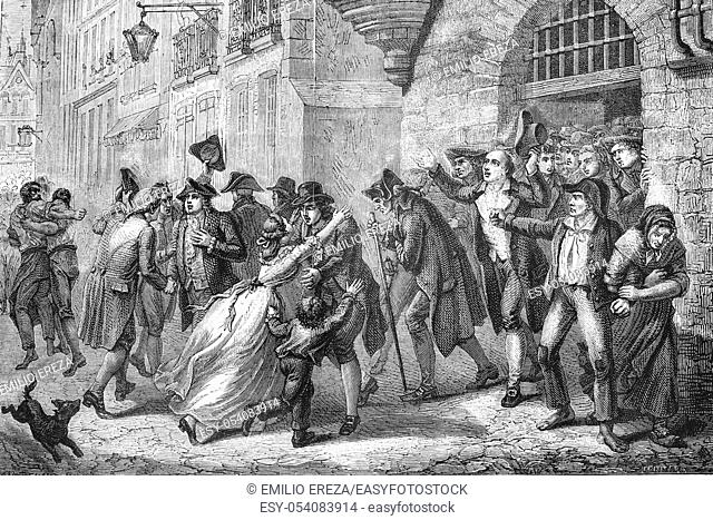 Freedom of people imprisoned during terror. French revolution. Antique illustration. 1890