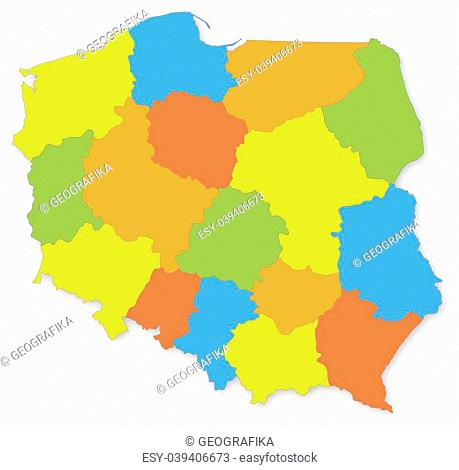Colorful map of Poland with voivodeships on white projected in UTM coordinate system
