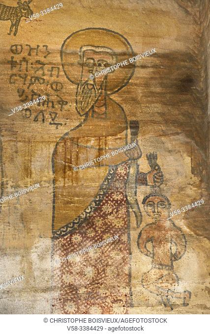 Ethiopia, Tigray, Hawsien region, Gheralta cluster, Maryam Korkor church. Sacrifice of Abraham