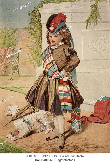 On guard, child soldier with dog, United Kingdom, illustration from the magazine The Illustrated London News, volume LXII, March 8, 1873