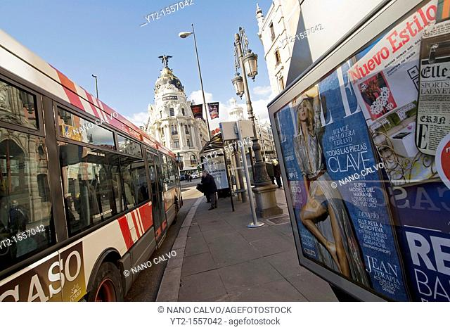 Gran Via literally 'Great Way' is an ornate and upscale shopping street located in central Madrid  It leads from Calle de Alcala, close to Plaza de Cibeles