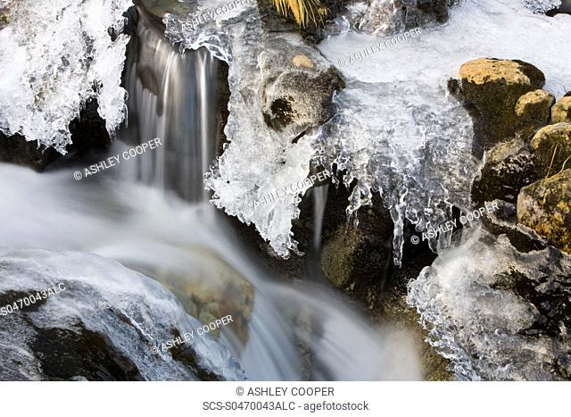 Ice on Greenburn Beck in the Lake district during a cold snap Cumbria UK