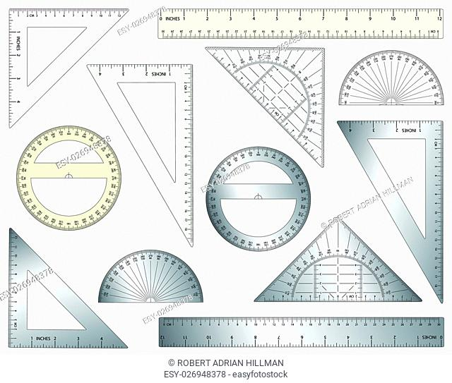 Set of editable vector rulers, set squares and protractors in plastic and metal. Hi-res jpeg file included