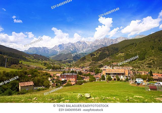 Potes in Cantabria skyline village of Spain