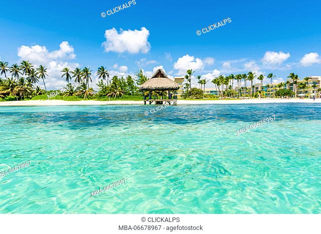 Playa Blanca, Punta Cana, Dominican Republic, Caribbean Sea. Thatched hut on the beach