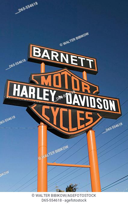 Sign for World's Largest Harley. Davidson Motorcycle Dealer. Barnett Harley-Davidson. El Paso.Texas, USA
