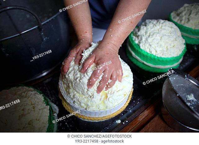 A woman works making Pecorino cheese in Quesos Oliva artisanal cheese making workshop in Villaluenga del Rosario, Sierra de Grazalema Natural Park