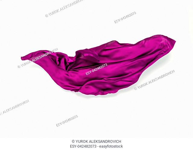 piece of purple fabric in motion, design element, high-speed photo