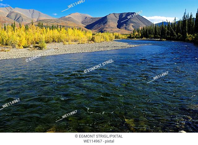 Blackstone River and Tombstone Mountains along Dempster Highway, Yukon Territory, Canada, North America