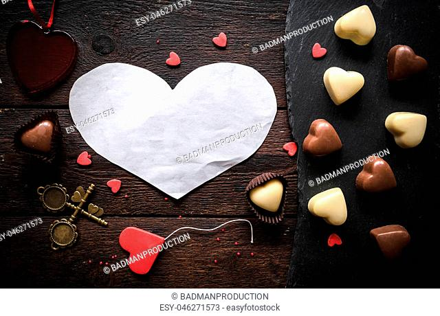 Blank heart in the middle on wooden background,Valentines day concept