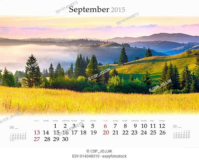 Calendar 2015. September. Beautiful autumn landscape in the moun