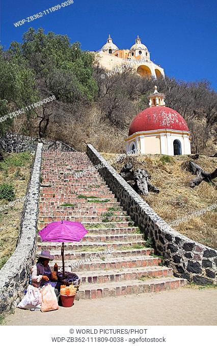 Nuestra Senora de los Remedios, also called Iglesia de Mercedes, on Great Pyramid of Cholula, Cholula, Mexico Date: 02 04 2008 Ref: ZB362-111809-0038 COMPULSORY...