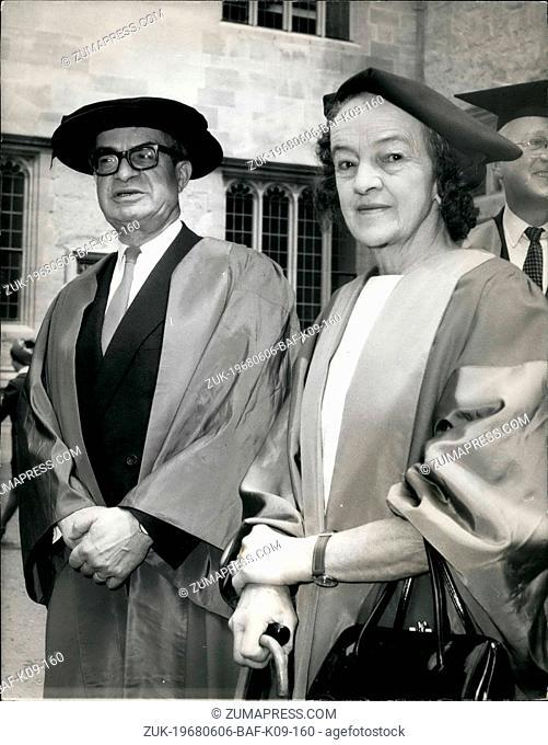 Jun. 06, 1968 - European Economic Community Chief receives Honorary Degree at Oxford ?¢'Ǩ'Äú M. Jean Rey, President of the European Economic Community