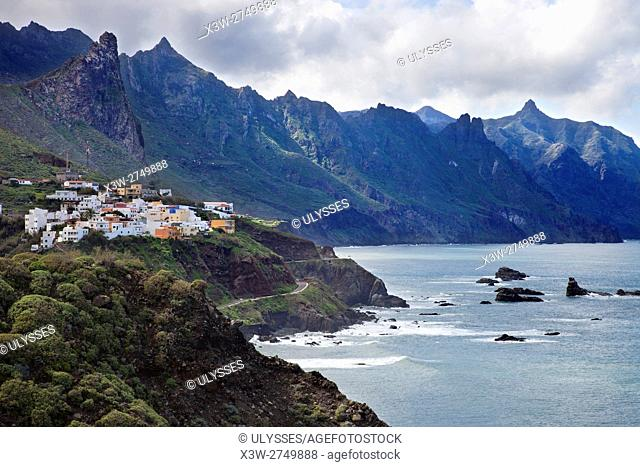 View with Taganana village, Anaga Mountains, Parque Rural Anaga, Tenerife island, Canary archipelago, Spain, Europe