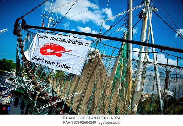 A shrimp fishing boat at the old port of Hooksiel (Germany), 04 June 2017. | usage worldwide. - Hooksiel/Niedersachsen/Germany