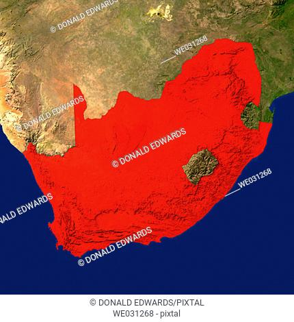 Highlighted satellite image of South Africa