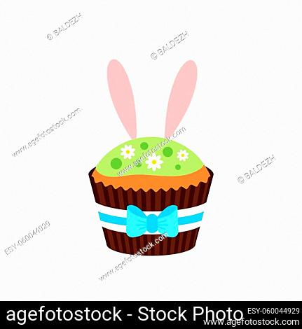 Easter cupcake with bunny ears icon isolated on white background. Cake sweets food muffin with bunny rabbit boy ears. Flat design cartoon style home made easter...