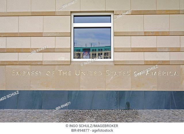 Embassy of the United States of America in writing on the new American embassy near the Brandenburg Gate in Berlin, Germany, Europe