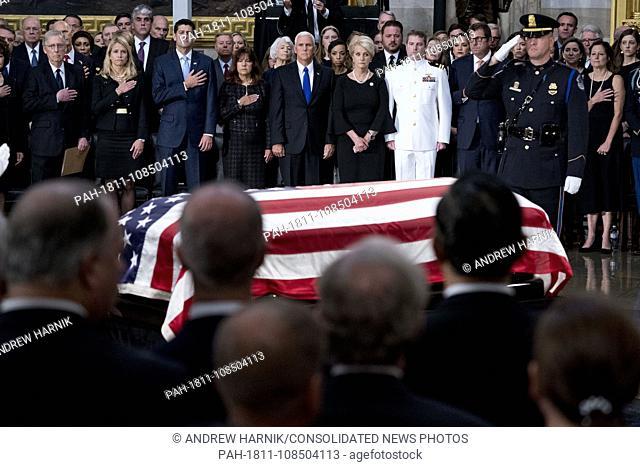 From left, Senate Majority Leader Mitch McConnell of Ky., Janna Ryan, House Speaker Paul Ryan of Wis., Karen Pence, Vice President Mike Pence