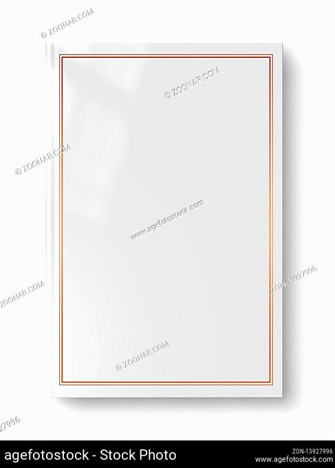 Closed blank book mockup with frame, isolated on white