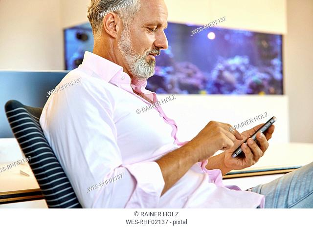 Businessman sitting in office using cell phone