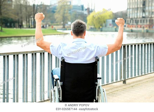 Rear View Of Disabled Man On Wheelchair With Hand Raised Looking At Lake