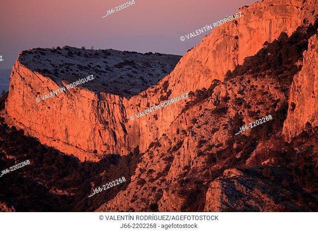 Landscapes from Roques de Benet at sunset, Els Ports Natural Park, Horta de San Joan, Tarragona province, Catalonia, Spain