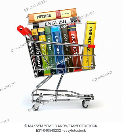 Shopping cart with books isolated on white. Textbooks. Back to school. 3d illustration