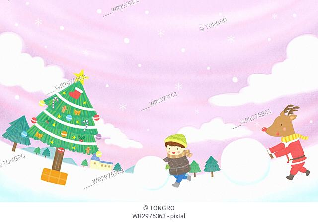 Smiling boy and reindeer rolling snowballs on Christmas in illustration