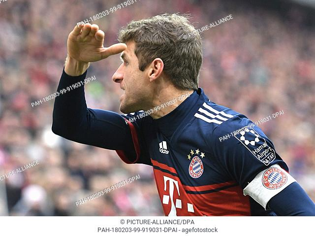 Bayern's Thomas Mueller pictured during the German Bundesliga football match between FSV Mainz 05 and Bayern Munich at the Opel Arena in Mainz, Germany
