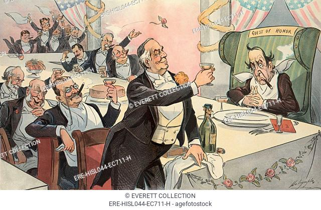 Political cartoon about the presidential elections, from PUCK Magazine, Nov. 28, 1900. Newly re-elected President William McKinley, toasting his Guest of Honor