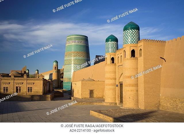 Uzbekistan ,Khorezm Region, Khiva City (W.H.) Itchan Kala Square., Kalta Minor minaret