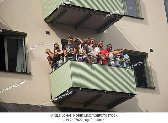 Audience,carnival,balcony.Stockholm Sweden