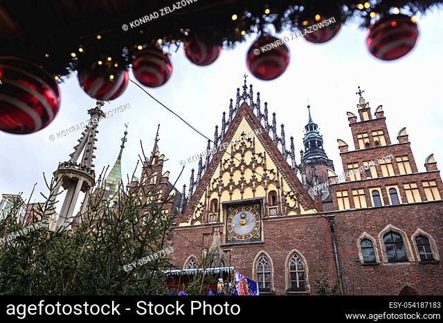 View on the Old Town Hall building during traditional Christmas market on the Old Town of Wroclaw in Silesia region of Poland
