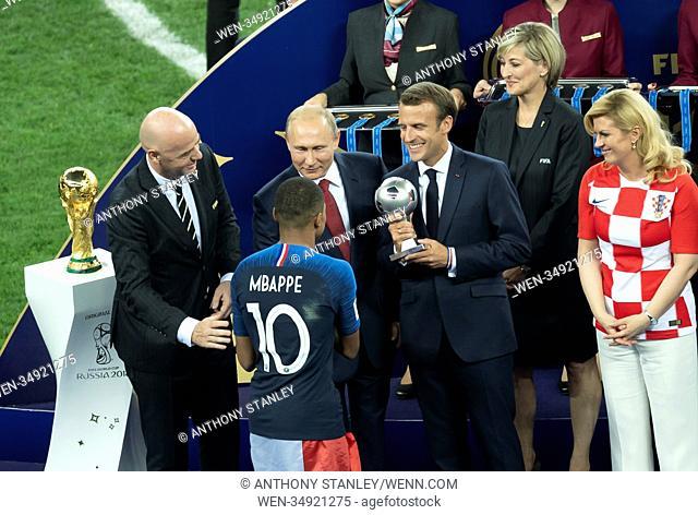 2018 FIFA World Cup Final: France v Croatia Featuring: Gianni Infantino, Vladimir Putin, Kylian Mbappe Where: Moscow, Russian Federation When: 15 Jul 2018...