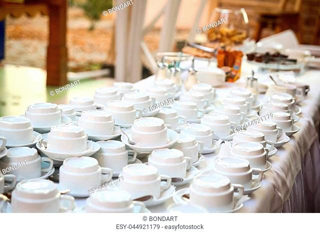 tea sets, collection white coffee cups, buffet, catering