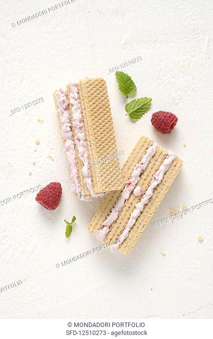Raspberry and vanilla ice cream sandwiches