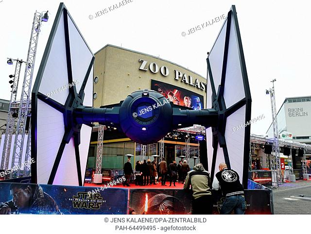 An oversized model of a Tie Fighter in front of the Zoo Palast in Berlin, Germany, 16 December 2015. This evening the premiere of the new installment 'Star...