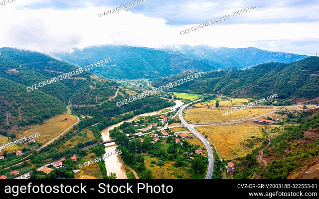 Landscape of mountain from sky