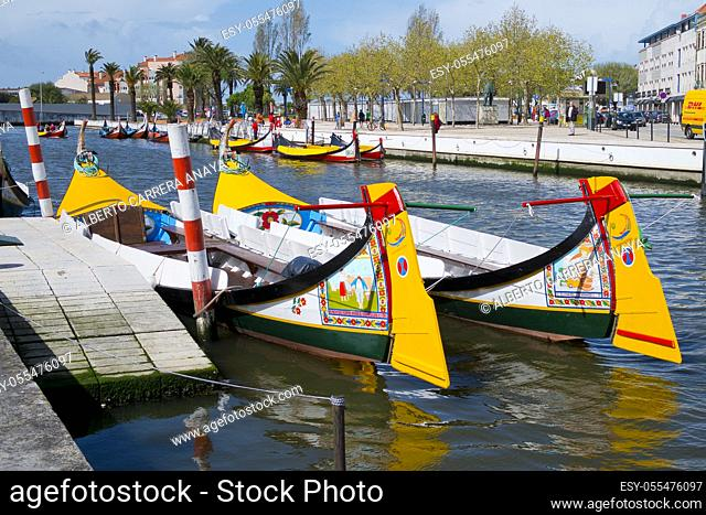 Aveiro moliceiros boats, Central Channel, Channels of Lagoon, Ria de Aveiro, Aveiro, Portugal, Europe
