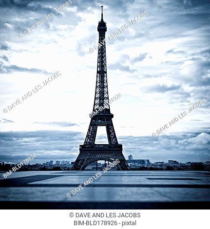 Eiffel Tower and cloudy sky, Paris, Ile-de-France, France