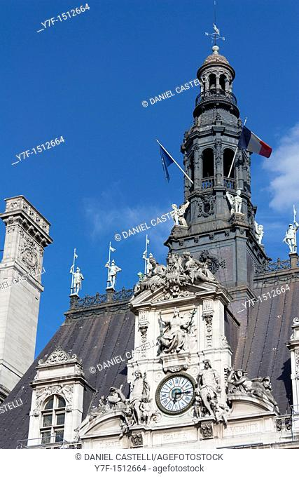 Clock of the town hall of Paris, France
