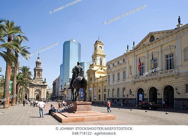 Pedro de Valdivia equestrian statue Plaza de Armas. Santiago. Chile