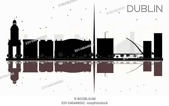 Dublin City skyline black and white silhouette with reflections. Vector illustration. Simple flat concept for tourism presentation, banner, placard or web site