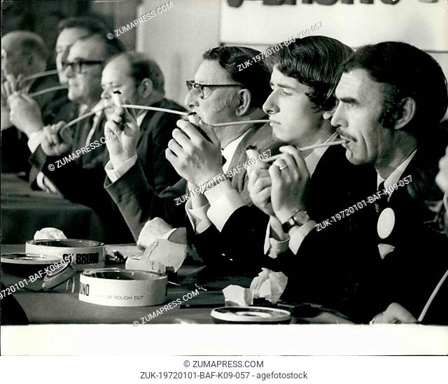 Jan. 01, 1972 - Finals Of National Pipesmoking Championship: The finals of Britain's first-ever National Pipesmoking Championship