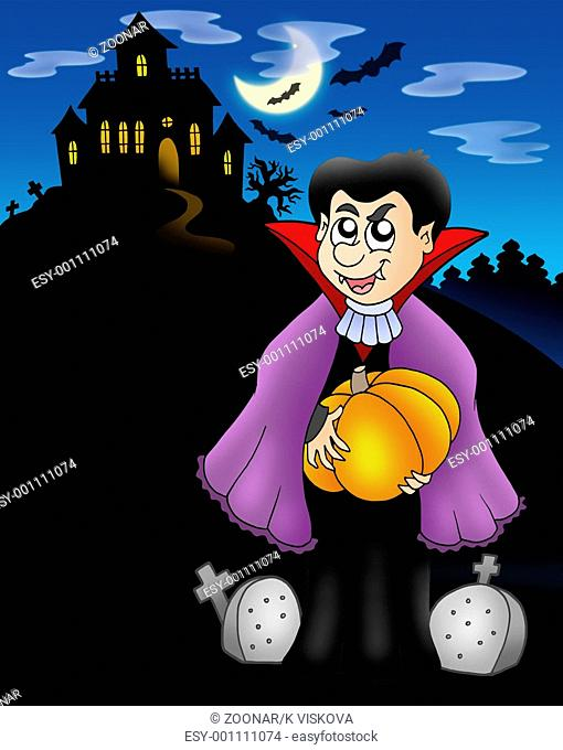 Vampire with pumpkin before house - color illustration