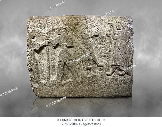Alaca Hoyuk Hittite monumental relief sculpted orthostat stone panel. Andesite, Alaca, Corum, 1399 - 1301 B. C. Anatolian Civilizations Museum, Ankara, Turkey