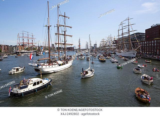 many people visited Sail 2015 by boat at the IJ-haven in Amsterdam