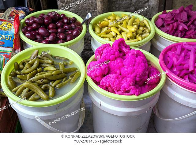 pickled vegetables on Arab market that sprawls across Christian and Moslem Quarters on the Old City of Jerusalem, Israel