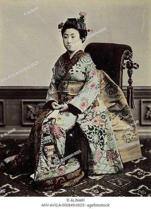 Portrait of a Geisha, shot 1885 ca. by School of Yokohama